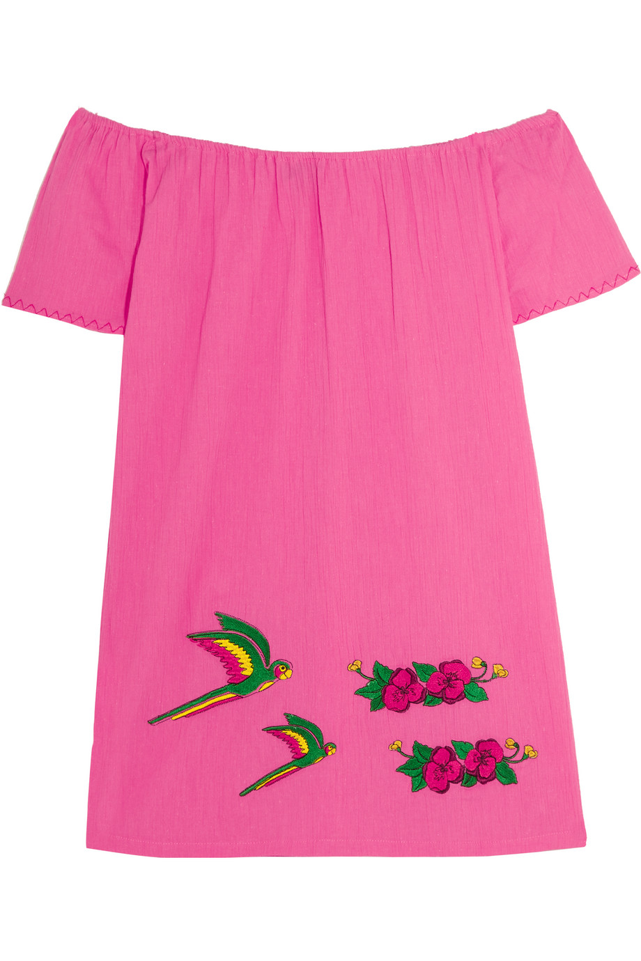 Sensi Studio Off-the-Shoulder Embroidered Cotton Mini Dress, Pink, Women's - Embroidered
