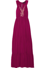 Suzi ruffle and lace-trimmed crinkled-gauze maxi dress