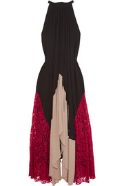 Iris lace-paneled crepe maxi dress