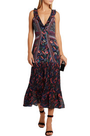 Amy printed silk-chiffon midi dress