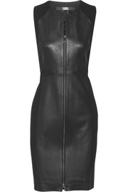Karl Lagerfeld Leather and stretch-ponte mini dress