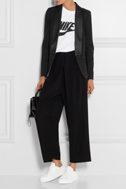 Satin-trimmed stretch-ponte blazer