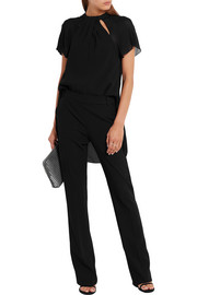 Karl Lagerfeld Crepe-chiffon and twill jumpsuit