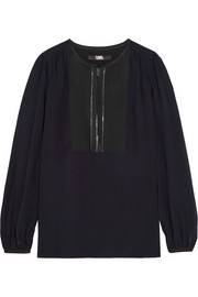 Karl Lagerfeld Satin-paneled georgette blouse