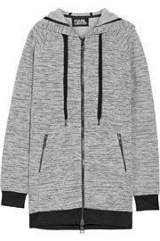 Karl Lagerfeld Embroidered bonded tweed hooded top