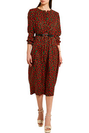 Cai floral-print silk-jacquard dress