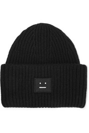 Acne Studios Pansy appliquéd ribbed wool beanie