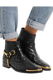 Embellished quilted leather ankle boots
