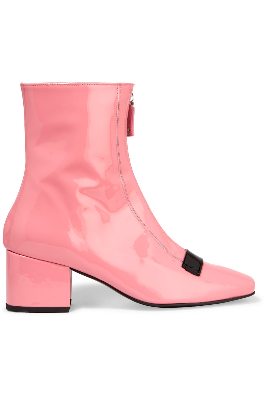 Double Delta Patent-Leather Ankle Boots, Baby Pink, Women's US Size: 10.5, Size: 41