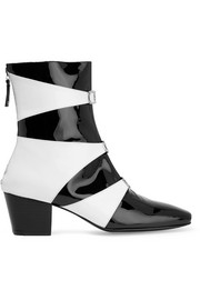 Two-tone patent-leather ankle boots