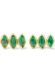 Brooke Gregson 18-karat gold emerald earrings
