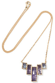 Brooke Gregson Ziggurat 18-karat gold tanzanite necklace