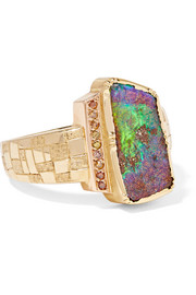Brooke Gregson Artemis Shield 18-karat gold, opal and diamond ring