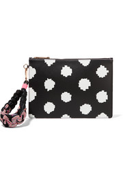 Flossy printed leather pouch