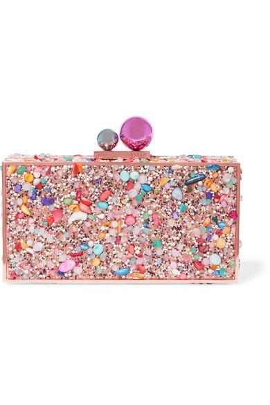 Sophia Webster - Clara Crystal Embellished Metal Clutch - Pink