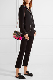 Claudie embellished elaphe and neon leather shoulder bag