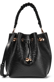 Romy Butterfly embossed leather shoulder bag