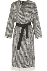 Iban fringed wool-blend tweed coat