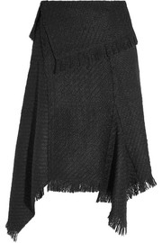 Idini asymmetric fringed bouclé-tweed wrap skirt