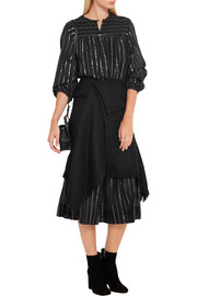 Isabel Marant Idini asymmetric fringed bouclé-tweed wrap skirt