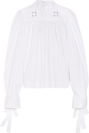 Isabel Marant Skara broderie anglaise-trimmed cotton-poplin blouse