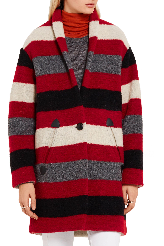 Size Red Wool Blend Boucle Coat | idaretobe