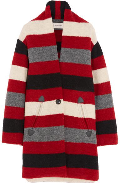 Étoile Isabel Marant - Gabrie Striped Wool-blend Bouclé Coat - Red