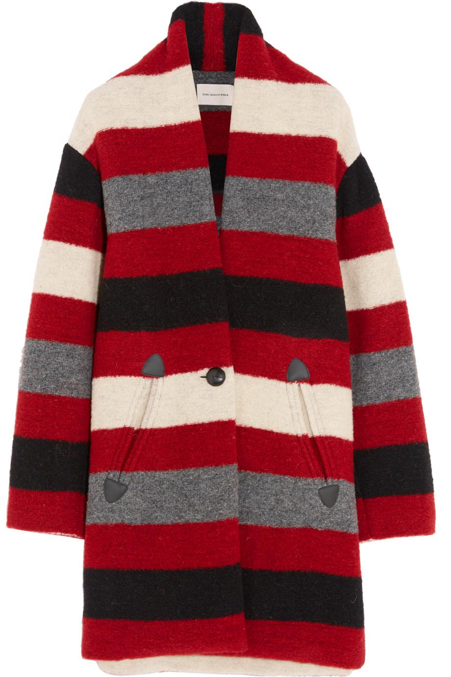 Gabrie Striped Wool-Blend Bouclé Coat, Étoile Isabel Marant, Red, Women's, Size: 36