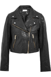 Barry washed-leather biker jacket
