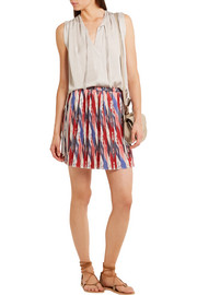 Étoile Isabel Marant Hanoi pleated printed satin mini skirt