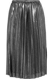 Madlen pleated lamé skirt