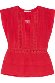 Rodge lace-trimmed cotton-voile top
