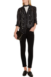 Samson metallic-trimmed cotton-gauze blouse