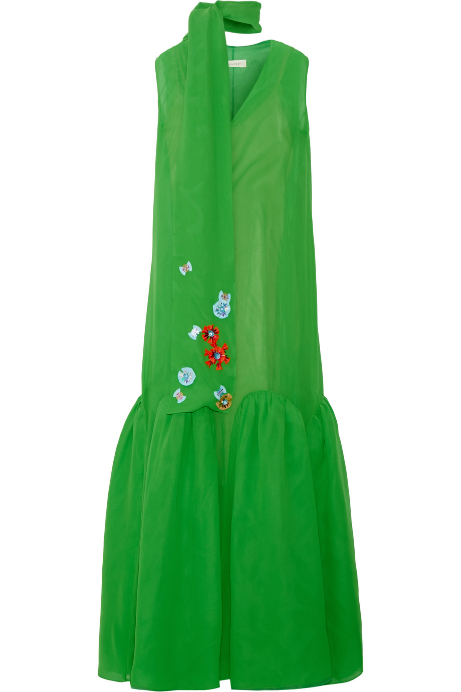 Delpozo Embellished Silk-Georgette Maxi Dress, Green, Women's - Floral, Size: 38