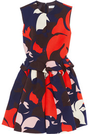 DELPOZO Printed cotton peplum dress