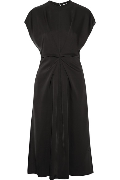 Loewe - Gathered Satin Dress - Black