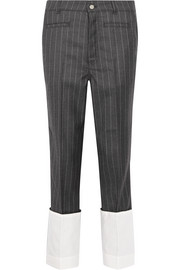 Pinstriped wool straight-leg pants