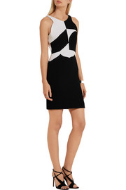 Antonio Berardi Two-tone wool-crepe mini dress