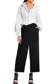 Antonio Berardi Cropped velvet-trimmed stretch-crepe wide-leg pants