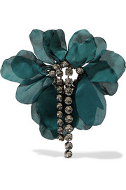 Lanvin Gina burnished gunmetal-tone, crystal and organza brooch
