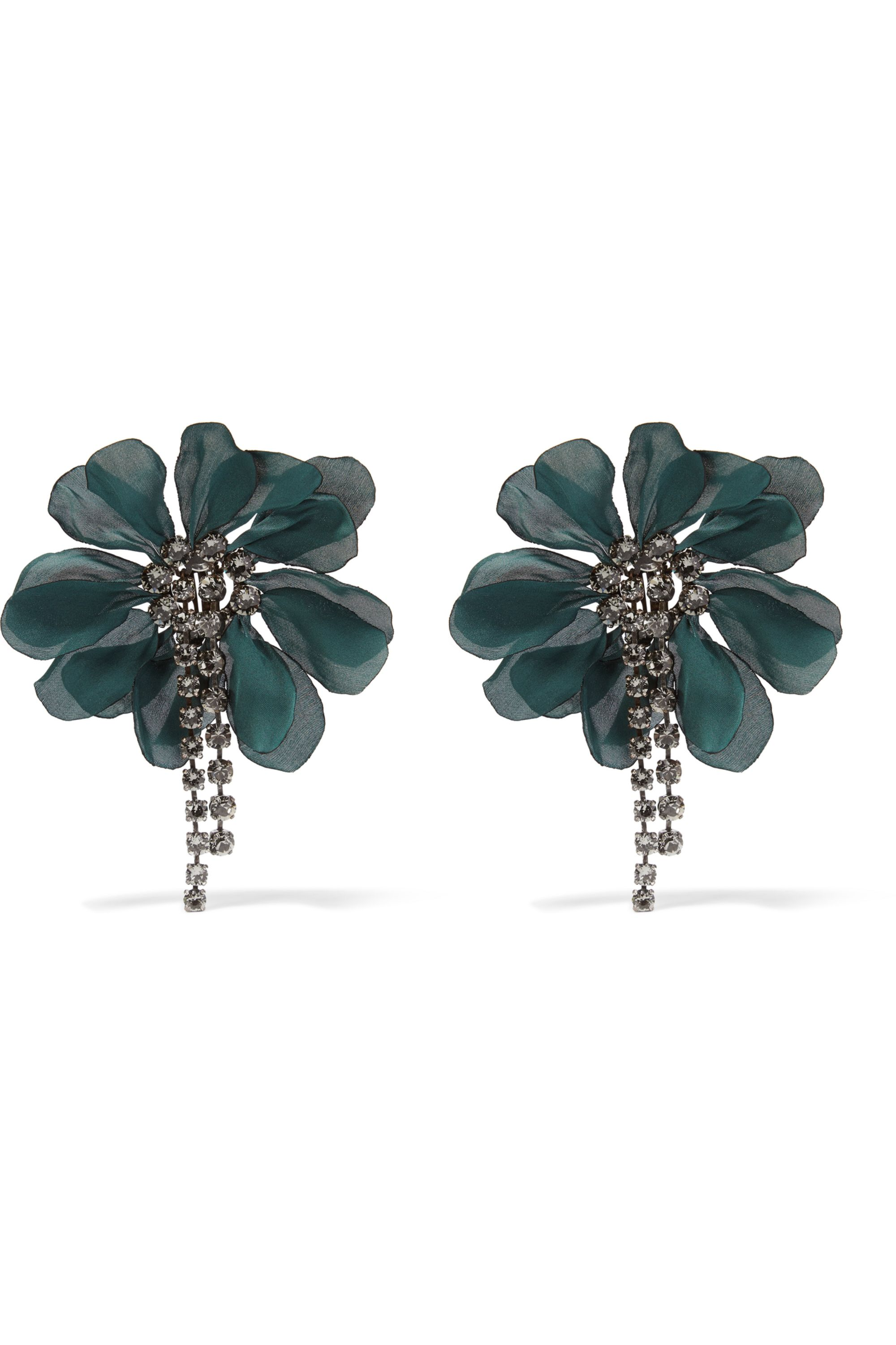 Lanvin Crystal and organza clip earrings