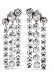 Lanvin Silver and pewter-plated Swarovski crystal clip earrings