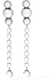 Lanvin Burnished silver-plated, faux pearl and Swarovski crystal clip earrings