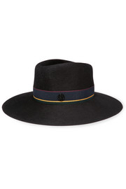 Charles canvas-trimmed beaver and rabbit-felt fedora