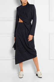 Acne Studios Elvia cutout pinstriped wool-blend dress