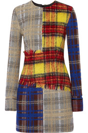 Acne Studios Ebele patchwork checked wool-blend mini dress