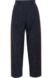 Milli cropped pinstriped wool-blend twill straight-leg pants