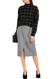 Wrap-effect brushed-twill skirt