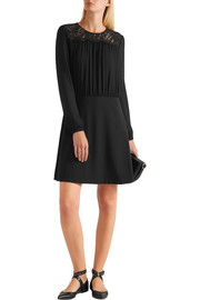MICHAEL Michael Kors Lace-paneled crepe mini dress