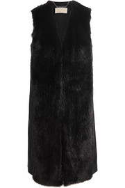 Faux fur and wool-blend vest